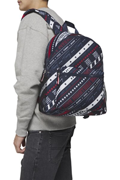 Tommy Hilfiger Erkek Lacivert Tjm Campus Boy Backpack Prınt Çanta