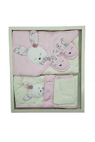 Gaye Kız Bebek Pembe Havlu Bornoz Seti 826