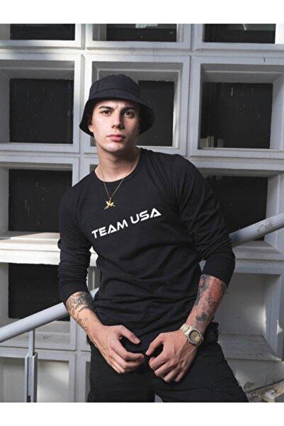 TEAM USA Erkek Siyah Uzun Kollu T-shirt