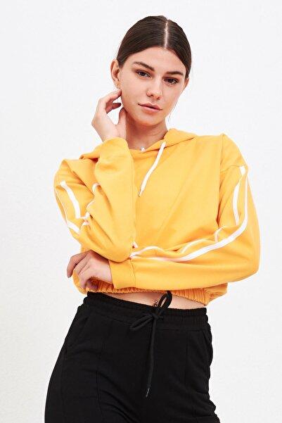 Mossta Kadın Sarı Eteği Lastikli Sweatshirt