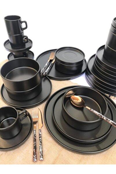 GULHANILE Stackable Mat Siyah 30 Parça 6 Kişilik Yemek Kahvaltı Takımı