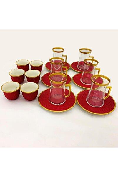 Paşabahçe Kırmızı Altın Yaldızlı 18 Parça Çay ve Mırra Seti