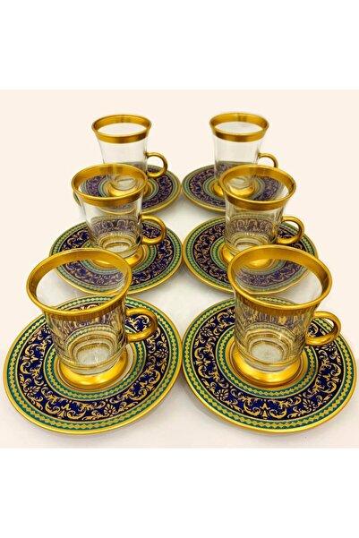 Paşabahçe Yaldızlı Katre Çay Seti Altın 12 Parça