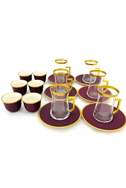 Paşabahçe Bordo Altın Yaldızlı Elvan 18 Parça Çay ve Mırra Seti