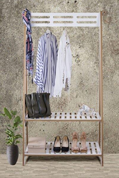 TATLI MOBİLYA Tatlı Beyaz Elbise Askılığı Portmanto Ve Ayakkabılık