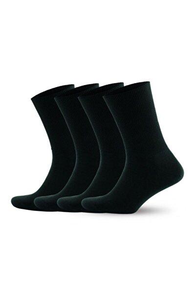 Go With Pamuklu Lastiksiz Siyah Renkli Sağlıklı Diyabet Çorabı 4 Çift