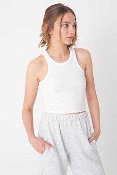 Kadın Beyaz Fitilli Kısa Atlet A0942 - X2 Adx-0000022303