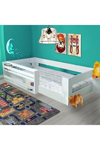 Brady Albali Suntalem Montessori 90x190 Kitaplıklı Beyaz Çocuk Karyolası