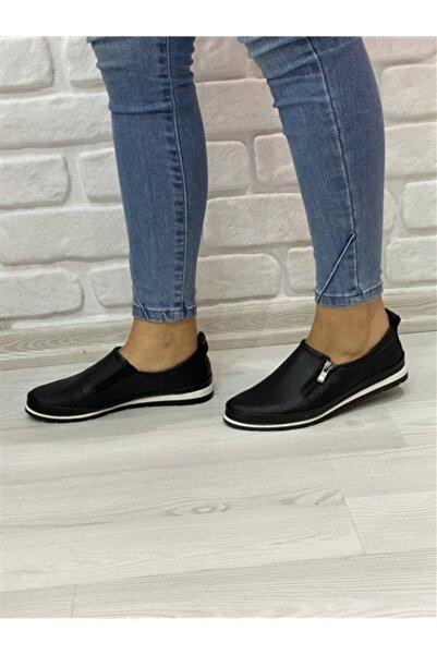 RİKEL DERİ Kadın Siyah Hakiki Deri Günlük Ayakkabı