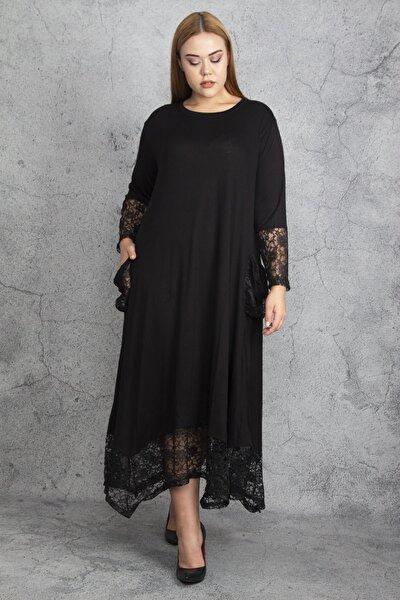 Şans Kadın Siyah Dantel Detaylı Viskon Uzun Kollu Elbise 65N18911