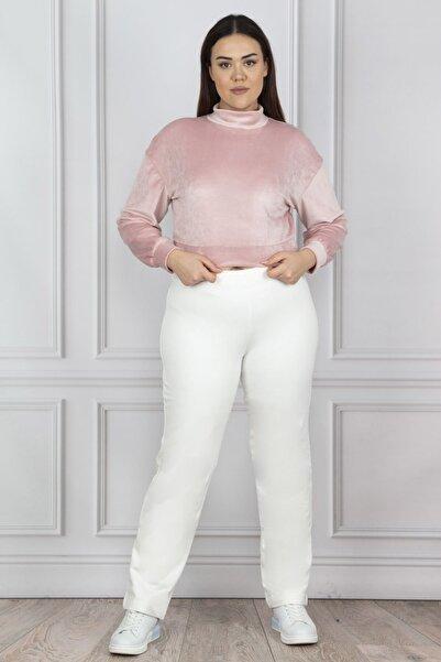 Şans Kadın Kemik Pamuklu Kumaş Bel Lastikli Pantolon 65N18757
