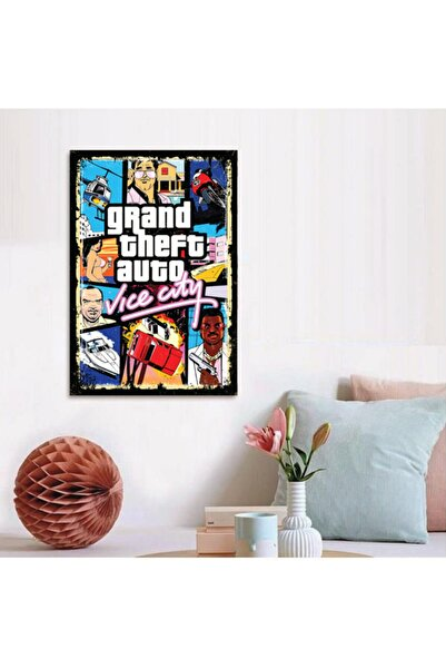 FERMAN HEDİYELİK Gta Ahşap Retro Poster 17,5x27,5 Cm