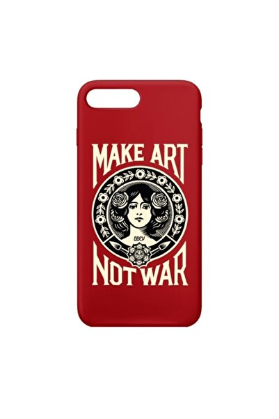 SUMTHINCS Make Art Not War Premium Kırmızı Iphone 7 Plus/8 Plus Telefon Kılıfı