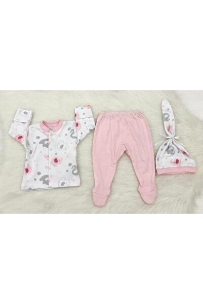 Albimini Fil Figürlü Üçlü Kız Pijama Takımı