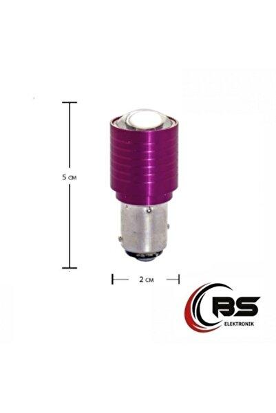 BsElektronik Tek Duy Düz Tırnak Kırmızı 1156 Mercekli Power Led Stop Ampulü 2 Adet Takım