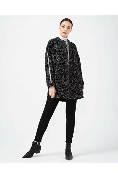 SEÇİL Kadın Siyah Kolları Şeritli Desenli Ceket 05083