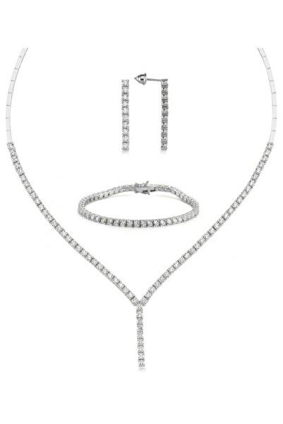 Valori Jewels Diamond Montür, 15.2 Karat Swarovski Zirkon Taşlı, Gümüş Su Yolu Set