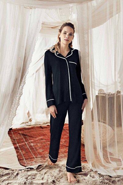 Lohusa Sepeti Kadın Siyah Önden Düğmeli Pijama Takımı