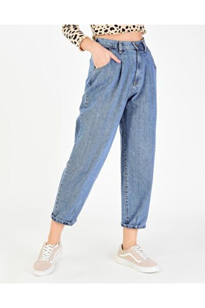 Vision Kadın Mavi Bol Kesim Jean