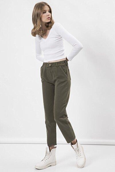 Arma Life Kadın Haki Düğmeli Gabardin Pantolon