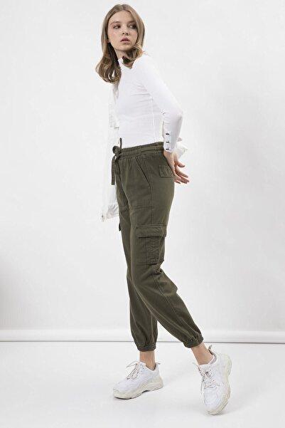 Arma Life Kadın Haki Kargo Cep Gabardin Pantolon