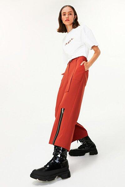 Twist Kadın Kahverengi Fermuar Şeritli Pantolon