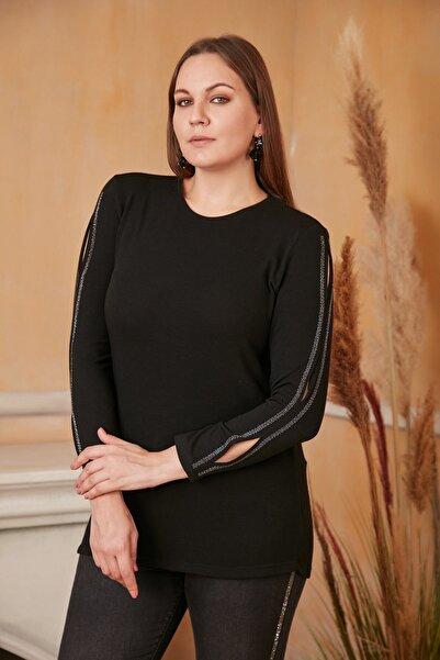 RMG Kadın Siyah Kolları Taş Baskılı Yırtmaçlı Büyük Beden Bluz