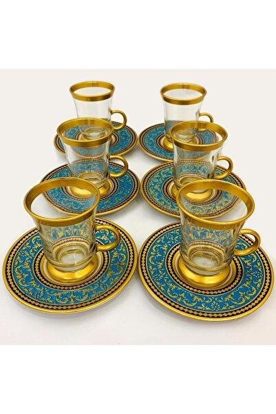 Paşabahçe 12 Parça Altın Yaldızlı Katre Çay Seti