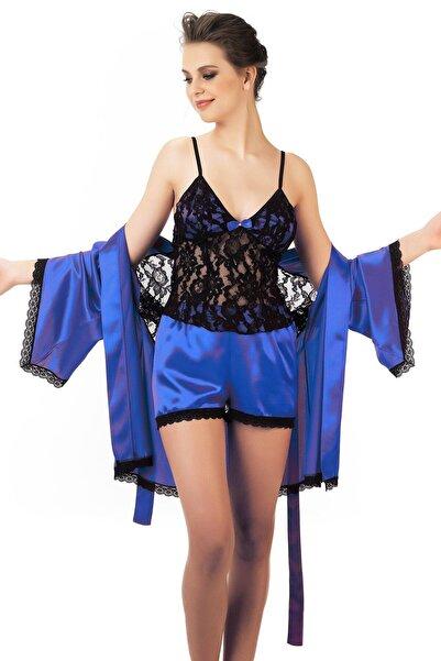 Mite Love Kadın Mavi Dantel Büstiyerli Gecelik Ve Sabahlık Takım