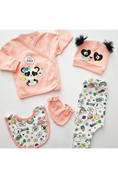 Sahra Kız Çocuk Pudra Sevimli Panda 5'li Hastane Çıkış Seti