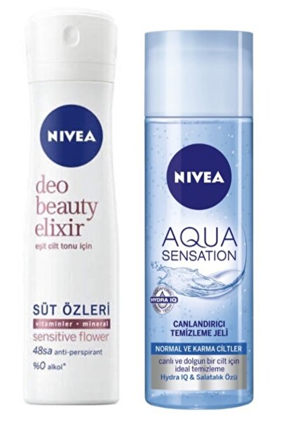 Nivea Deodorant Beauty Elixir Sensitive Flower Kadın Sprey 150 ml  Aqua Sensation Temizleme Jeli 200 ml