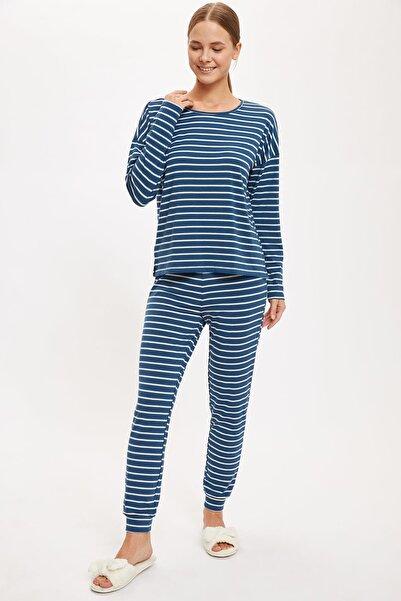 DeFacto Fit Kadın Petrol Üstü Desenli Altı Basic Pijama Takımı S2449AZ20AU