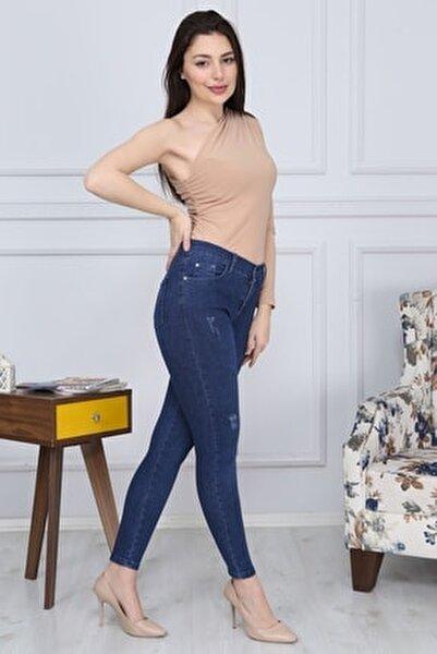 Kadın Mavi Denmi Dar Paça Jean Pantolon G026
