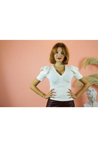 NİCE Kadın Beyaz Omzu Fırfırlı Bluz