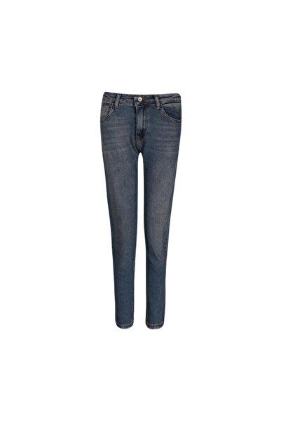 Fashion Friends Kadın Mavi Yüksek Bel Mom Jeans 0317b1