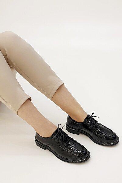 Marjin Kadın Siyah Rugan Laves Oxford Ayakkabı