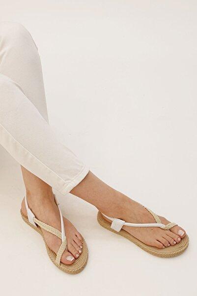 Marjin Kadın Beyaz Eylivo Parmak Arası Sandalet