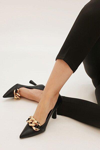 Marjin Kadın Siyah Viyolin Stiletto Topuklu Ayakkabı