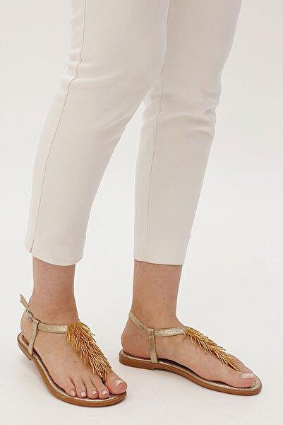 Marjin Kadın Altın Kosten Parmak Arası Sandalet