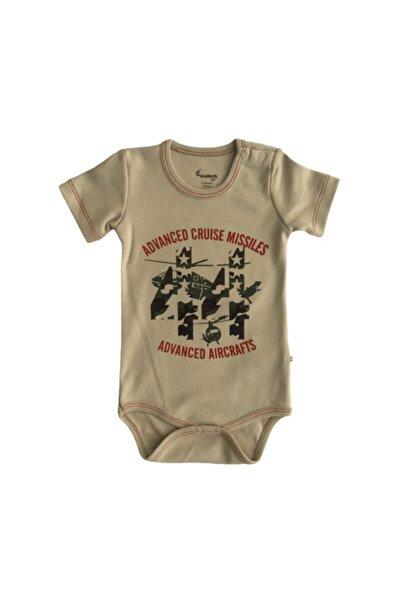 Bella Erkek Bebek Bej Renk Kamuflaj Desenli Çıtçıtlı Badi