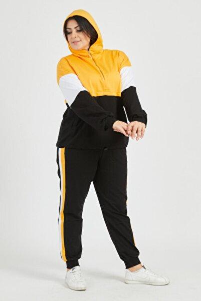 Koza Kadın Sarı Garnili Kapüşonlu Fermuarlı Büyük Beden Eşofman Takımı