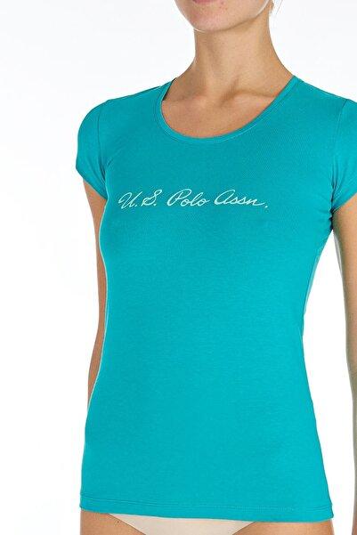 U.S. Polo Assn. Kadın Turkuaz O Yaka T-shirt Us.01.66066