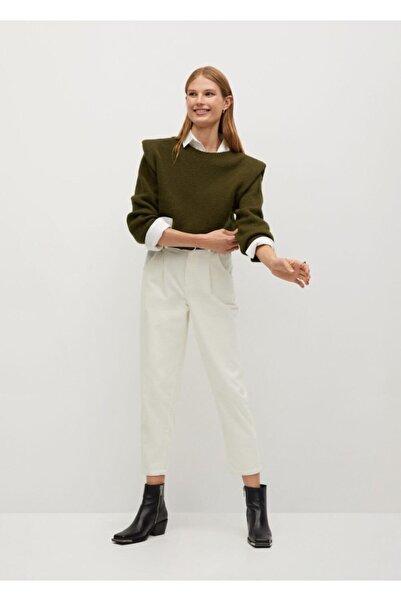 MANGO Woman Kadın Ekru Pantolon