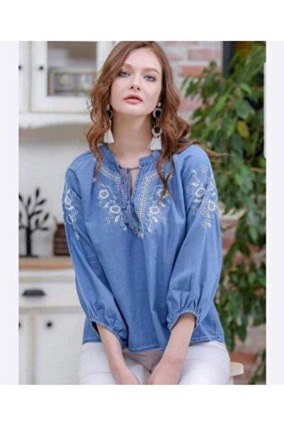 Gulumse Kadın Mavi Vintage Yaka Bağcıklı Bluz