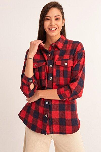 Fulla Moda Kadın Kırmızı Cepli Oduncu Gömlek