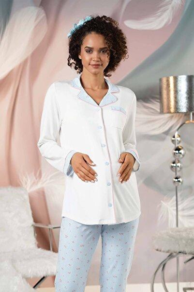 Lohusa Sepeti Kadın Mavi Önden Düğmeli Lohusa Pijama Takımı
