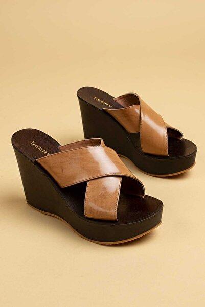 Deery Kadın Kahverengi  Hakiki Deri Terlik