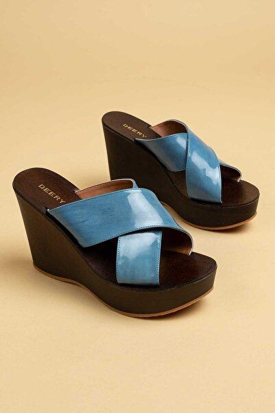 Deery Kadın Mavi Hakiki Deri  Terlik