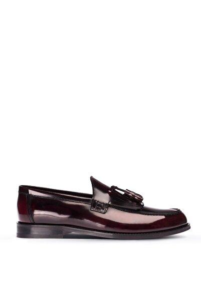 Deery Erkek Bordo Hakiki Deri Püsküllü Loafer Ayakkabı