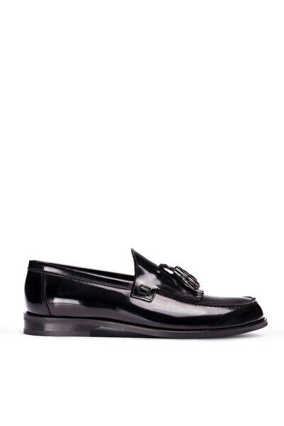 Deery Erkek Siyah Hakiki Deri Püsküllü Loafer Ayakkabı